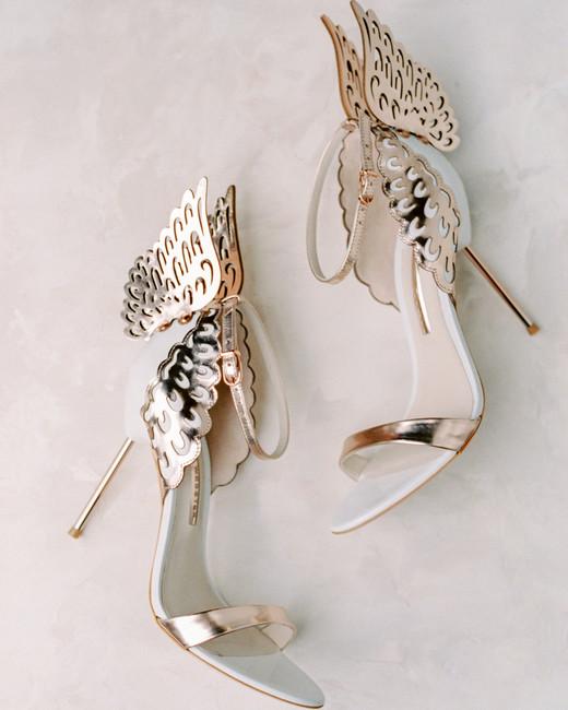 metallic wedding shoes with wings