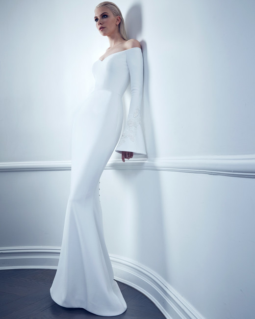 bell sleeve off-the-shoulder semi-sweetheart romona keveza collection spring 2020