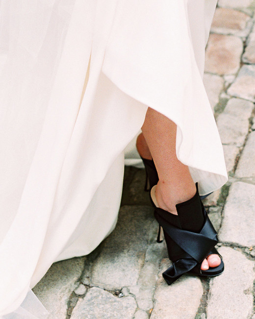 black wedding heels