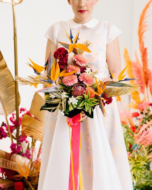 tashina huy colorful wedding modern bouquet