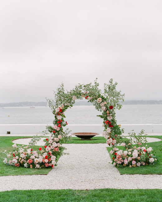 colleen stephen newport wedding ceremony floral arch