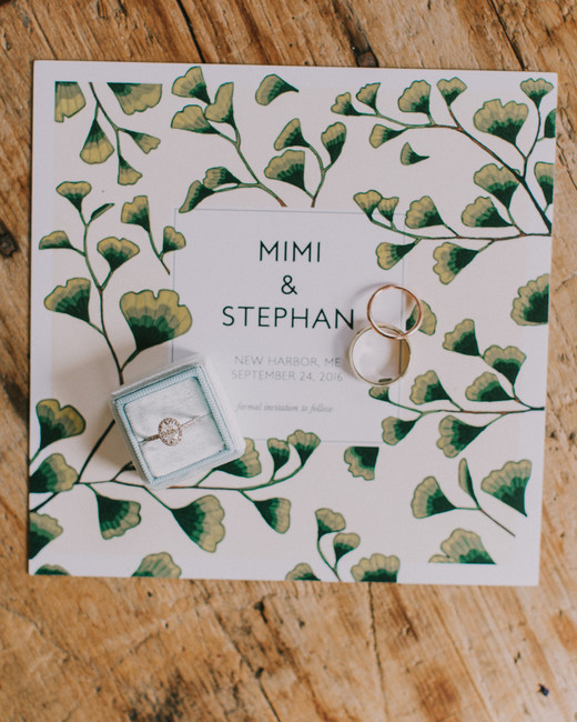 greenery designed white square save the date