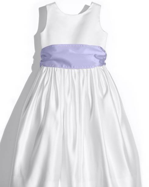 Us Angels White Tank Dress With Lilac Satin Sash