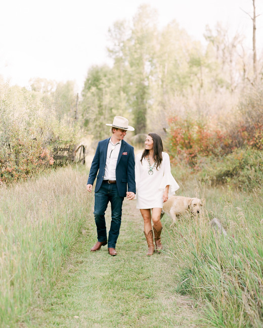 margaux patrick welcome dinner couple walking with dog