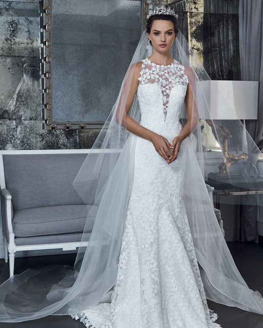 romona keveza collection wedding dress spring 2019 illusion sleeveless lace