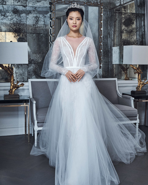 romona keveza collection wedding dress spring 2019 tulle long sleeves deep v