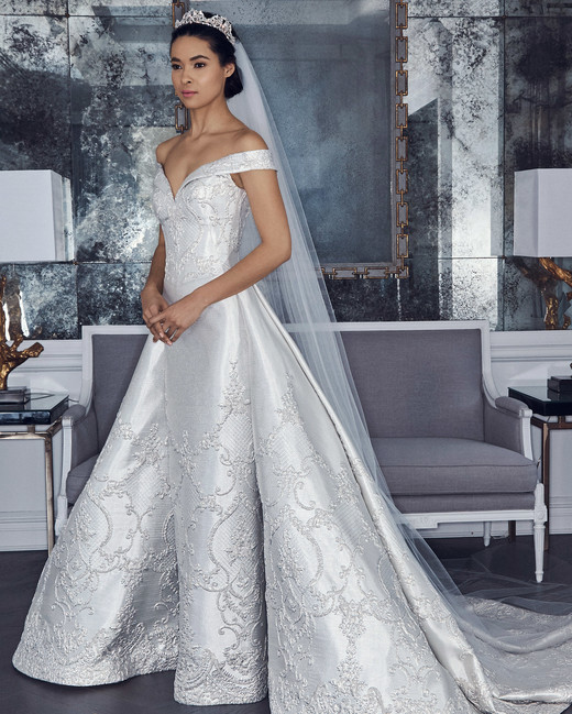 romona keveza collection wedding dress spring 2019 off the shoulder ball gown cap cleeves
