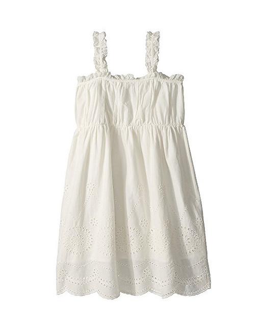 summer flower girl dress white eyelets