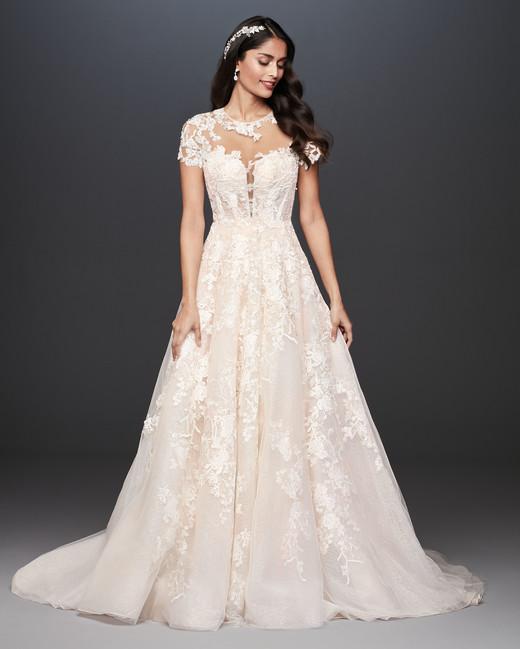 sweetheart illusion lace aline wedding dress davids bridal galina Spring 2020