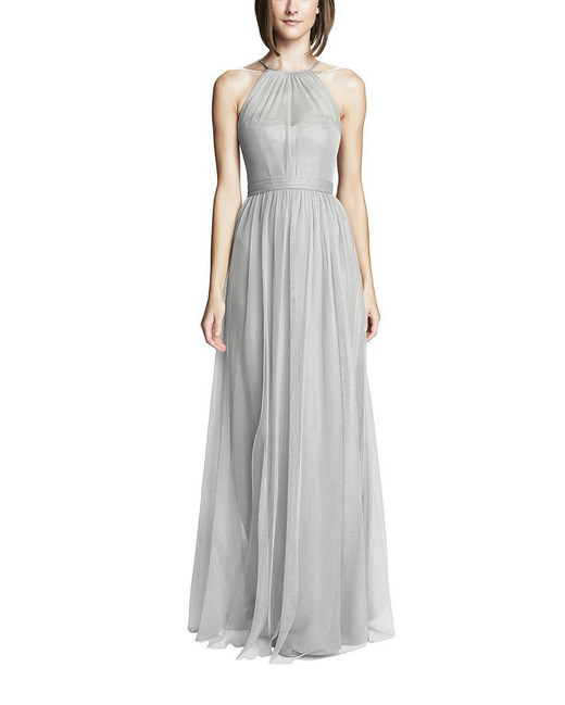 grey silver bridesmaid dresses amsale aliki dress