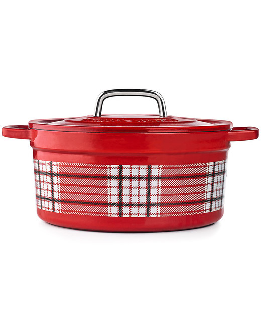hostess gift guide red plaid casserole dish