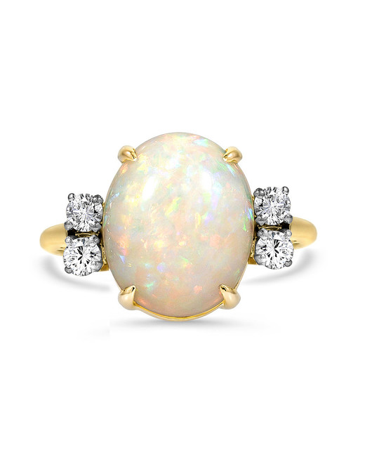 gold band with diamond accents opal engagement ring