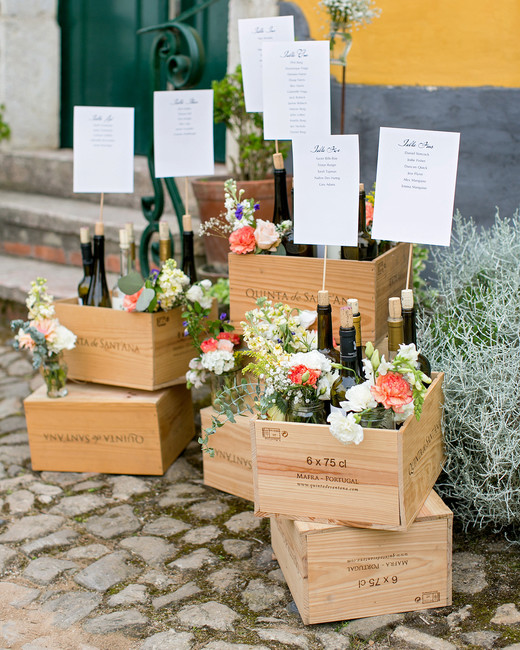 alcohol escort cards wine and signs in crates