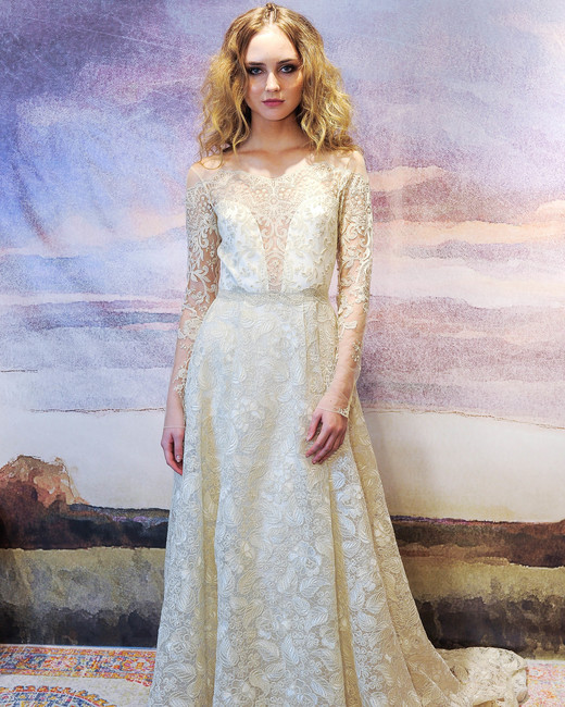 claire pettibone long sleeve lace wedding dress fall 2018