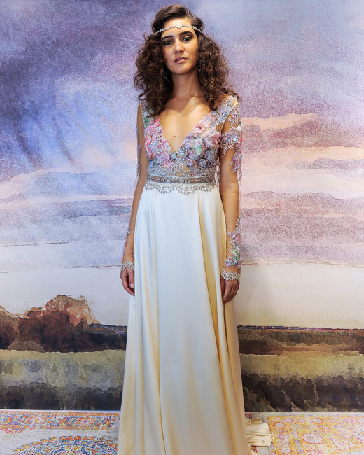claire pettibone plunging neckline with long-sleeves wedding dress fall 2018