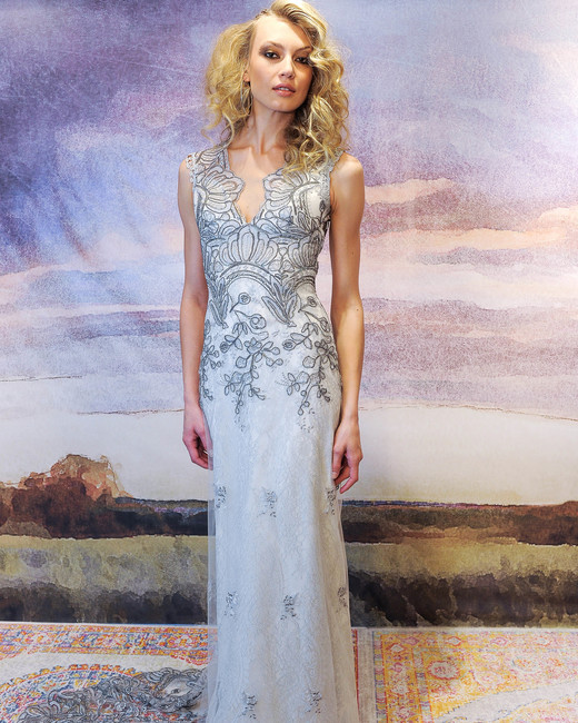 claire pettibone sheath wedding dress with applique fall 2018
