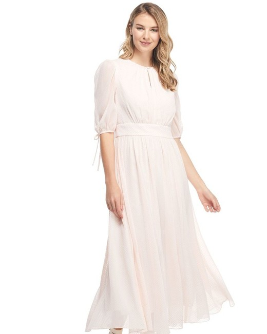 pink midi engagement party dress