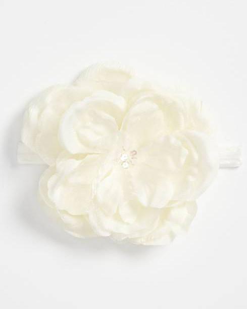 white flower head wrap