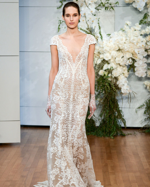 Monique Lhuillier V Neck Lace Wedding Dress Spring 2018