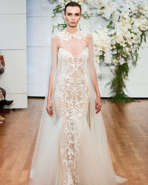 monique lhuillier tulle sheer wedding dress spring 2018