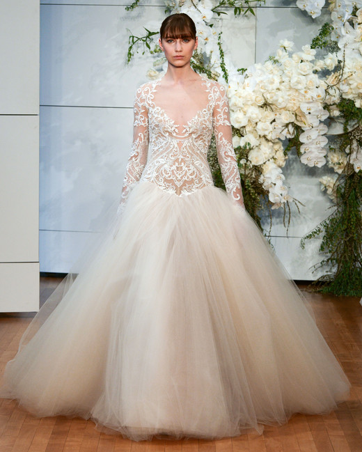 monique lhuillier tulle long sleeves ballgown wedding dress spring 2018