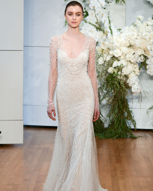 monique lhuillier beaded trumpet long sleeves wedding dress spring 2018
