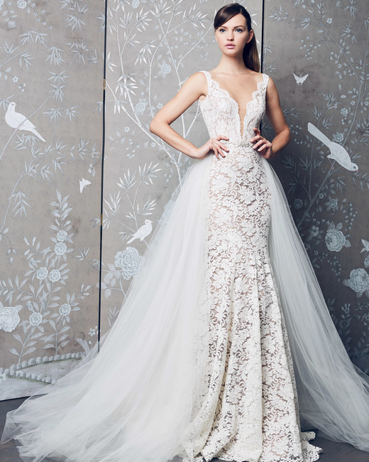 Legends Romona Keveza Embellished V-Neck with Train Wedding Dress Fall 2018