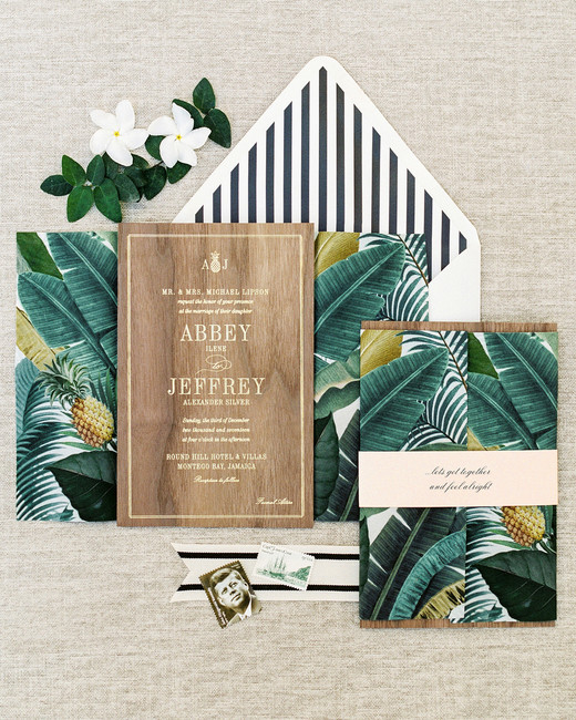 abbey jeffrey wedding tropical natural invitations