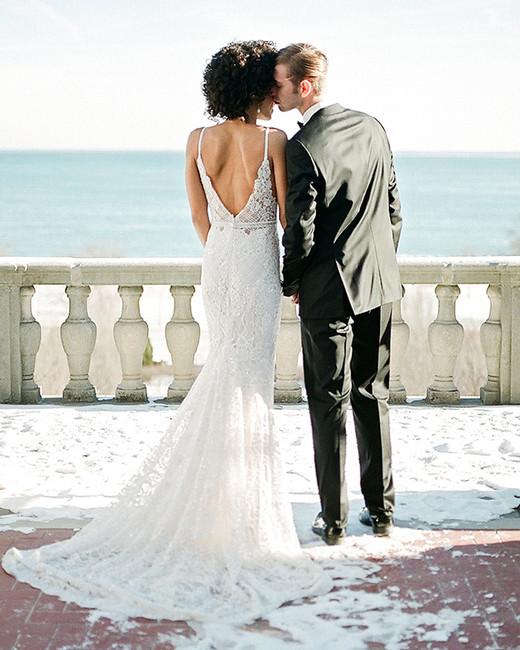 europe style couple overlooking water