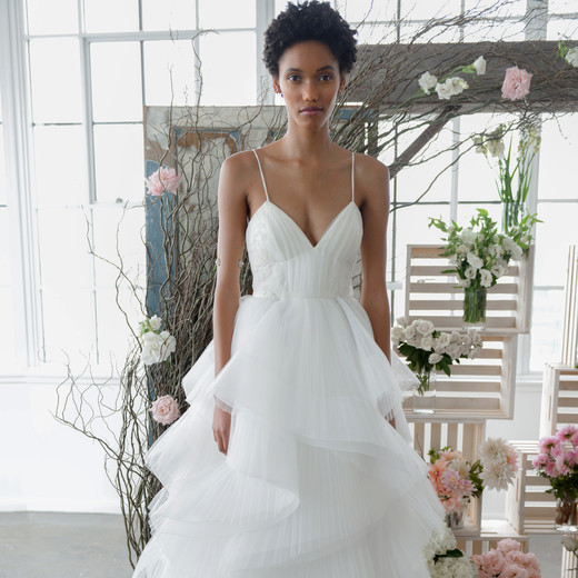 marchesa notte spaghetti straps layered a-line bridal wedding dress fall 2018