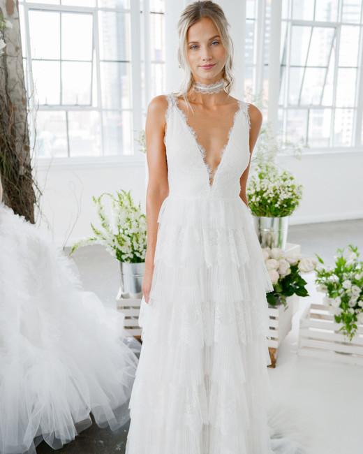 marchesa notte plunging v-neck sheath bridal wedding dress fall 2018
