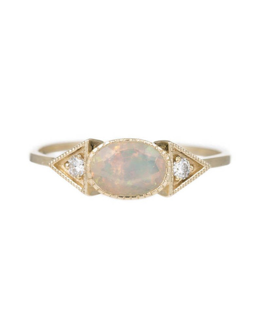 gold band opal spear engagement ring