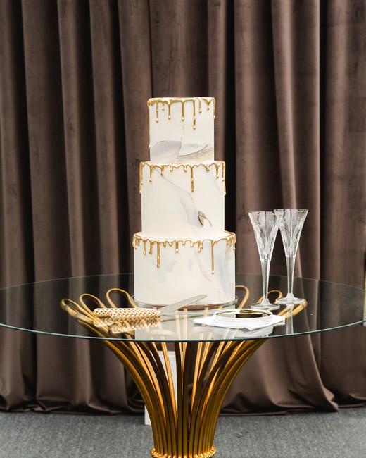 hamida charlie charleson wedding drip cake