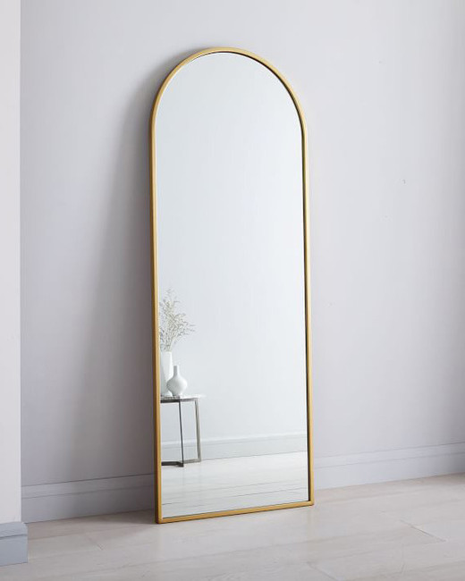Metal Framed Arched Floor Mirror