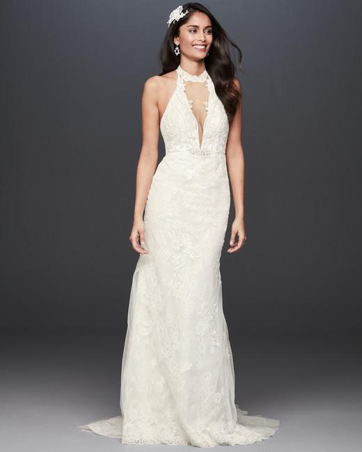 high neck plunging key hole lace sheath wedding dress Galina Signature Spring 2020