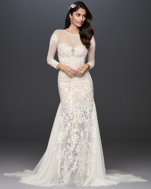 illusion boat neck lace long sleeves semi mermaid wedding dress Galina Signature Spring 2020
