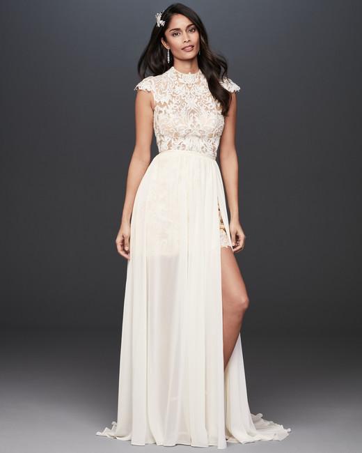 high neck cap sleeve lace a-line wedding dress Galina Signature Spring 2020