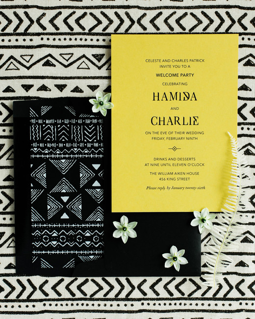 hamida charlie charleson wedding welcome party invitation