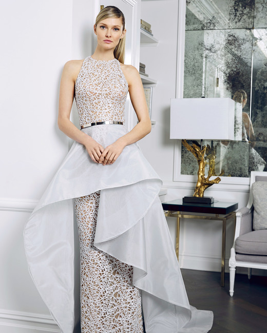 romona keveza fall 2018 embellished sheath with skirt overlay