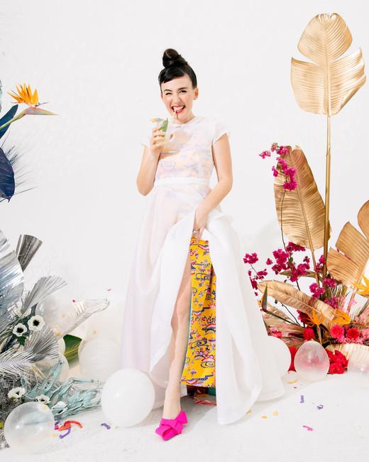 tashina huy colorful wedding bride dress transform