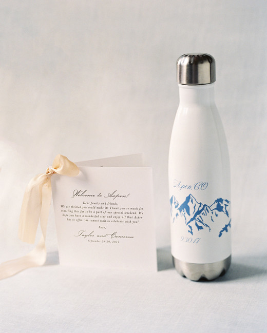 taylor cameron wedding welcome water bottle