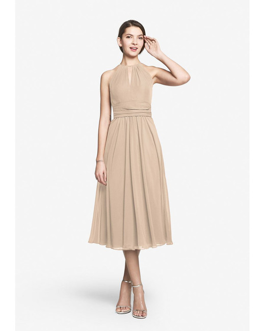 beige neutral bridesmaid dresses gather and gown jordan