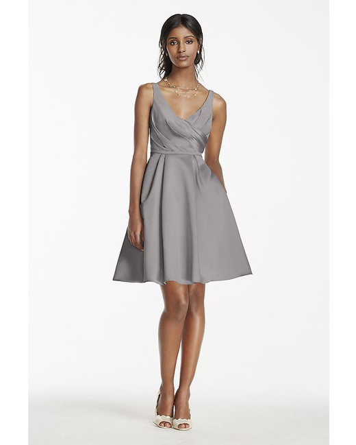 grey silver bridesmaid dresses davids bridal satin tank