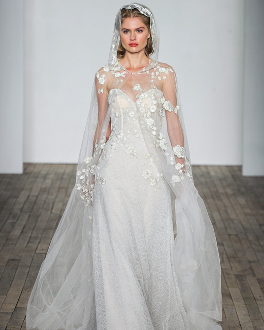 Allison Webb Long Sleeves with Veil Wedding Dress Fall 2018