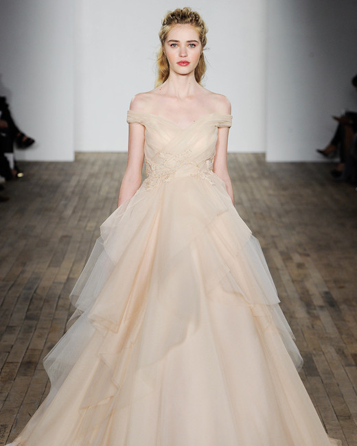 Allison Webb Off-the-Shoulder A-Line Wedding Dress Fall 2018