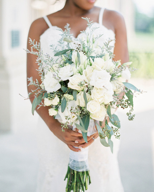 various white long stemmed florals wedding bouquet