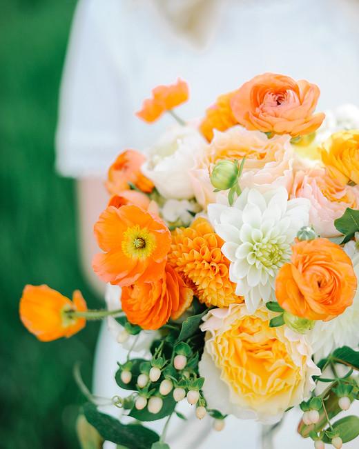 monochromatic bouquet bright orange flowers