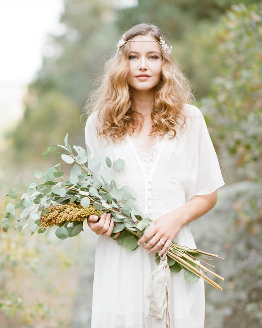 long stemmed eucalyptus greenery wedding bouquet