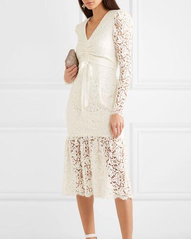 cream lace engagement party dress