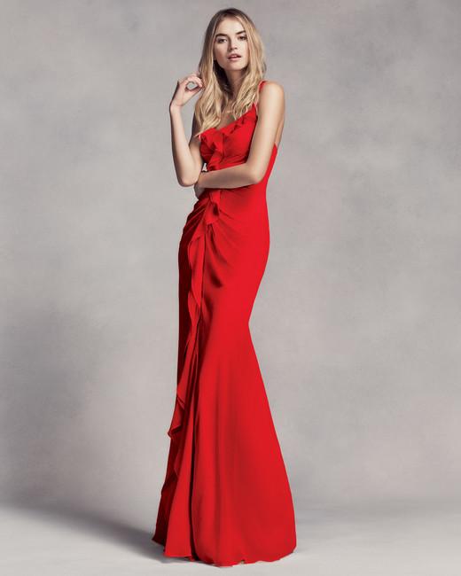 red bridesmaid dress vera wang love VW360275 ruched ruffles